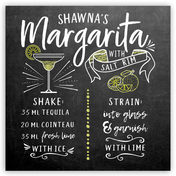 Personalized Margarita Recipe Sign
