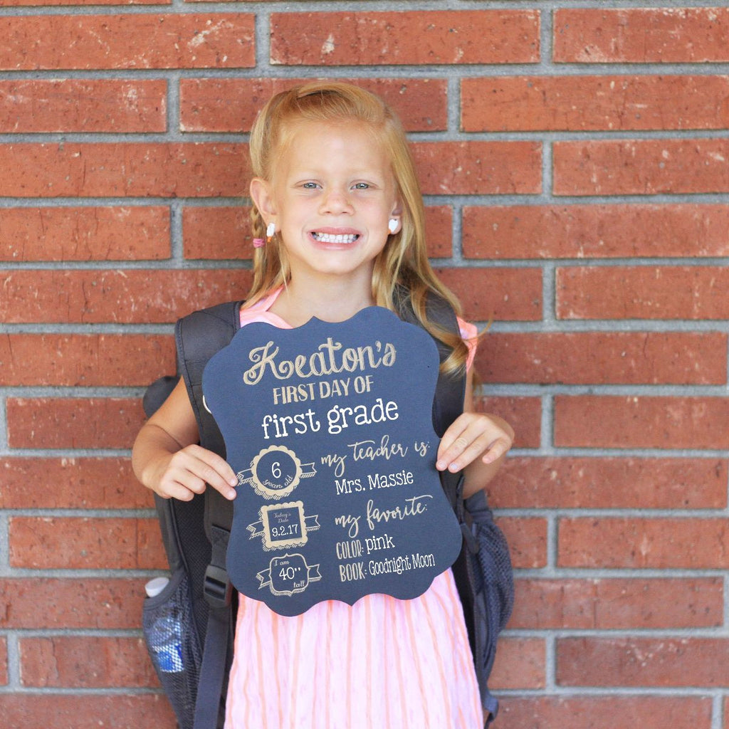 Custom First Day of School Chalkboard Sign Reusable
