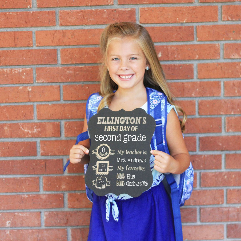First Day of School Chalkboard Sign Personalized