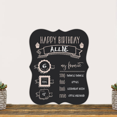Personalized Happy Birthday Chalkboard Sign