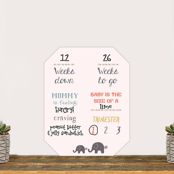"Pregnancy Countdown Whiteboard ""Baby On The Way Count Down In Pink!"""