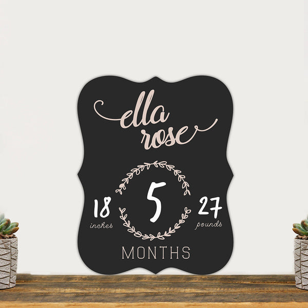 "Personalized Baby Month Chalkboard ""Baby Growth Sign"""