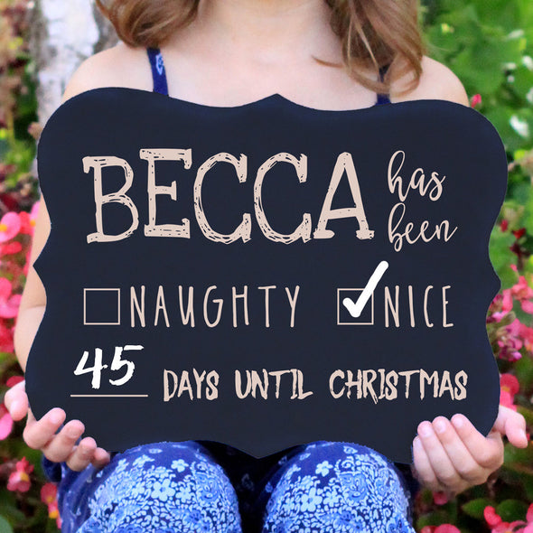 "Personalized Chalkboard ""Day Until Christmas"""