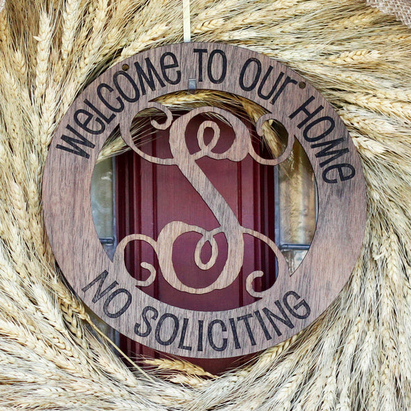"Fancy Monogram ""Welcome to our Home"" Wood Sign"