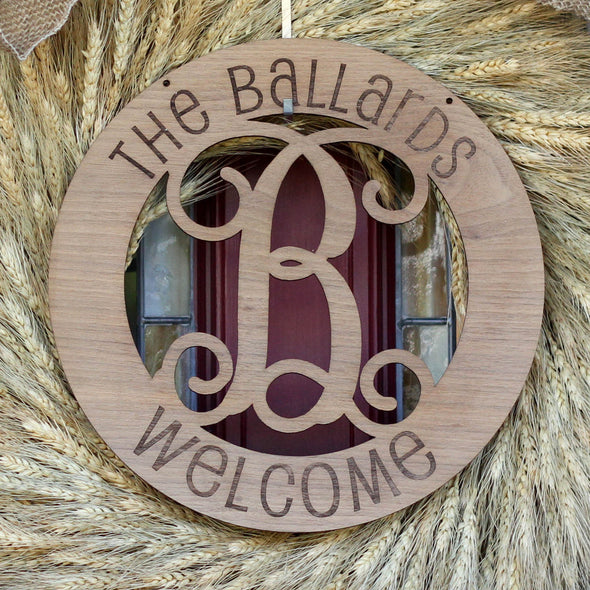 "Fancy Monogram ""Welcome"" Wood Sign"
