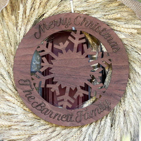 Christmas Snowflake Wood Sign