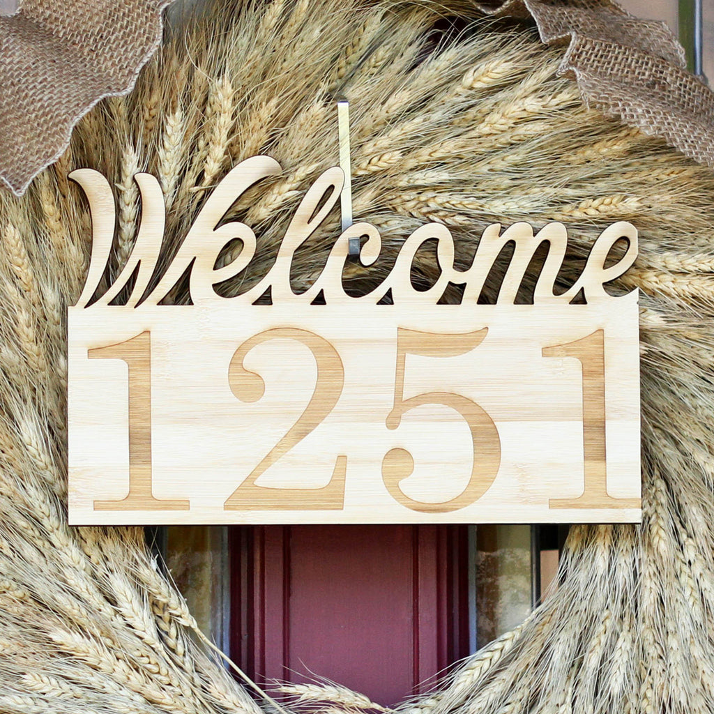 Welcome Home, House Number Wood Sign