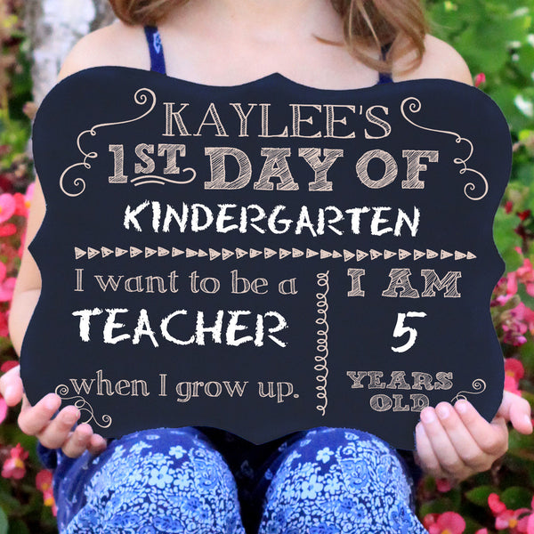 Personalized First Day Of School Chalkboard Sign
