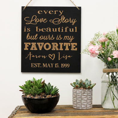 Love Story Chalkboard Sign