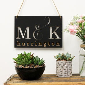 Chalkboard Wall Art Cut Out Initials