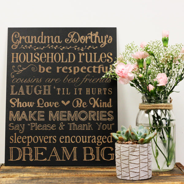 Personalized Grandma  House Rules Sign