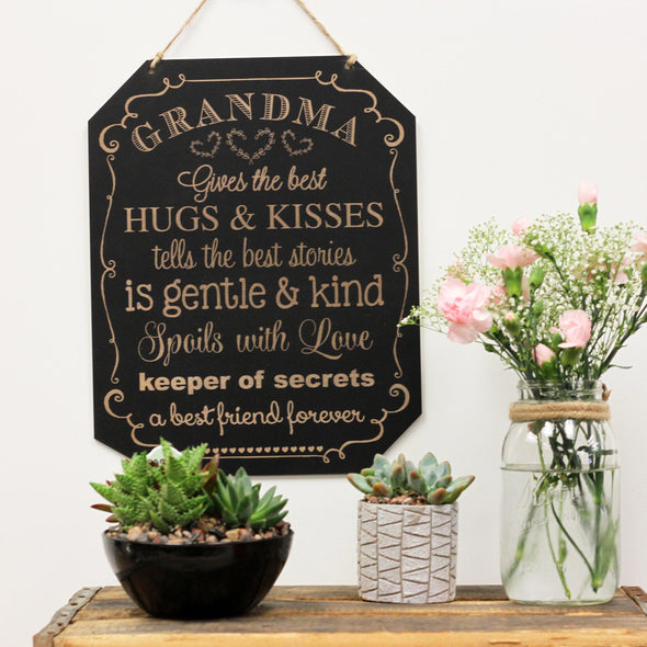 Grandma Gives the Best Kisses Chalkboard Sign