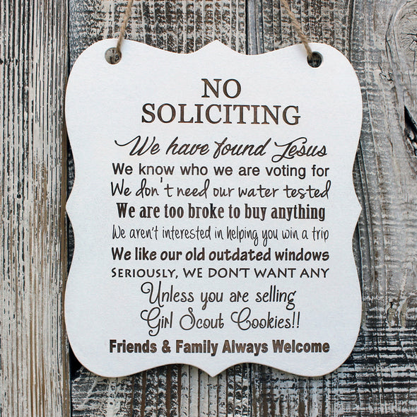 "Whiteboard ""No Soliciting"""