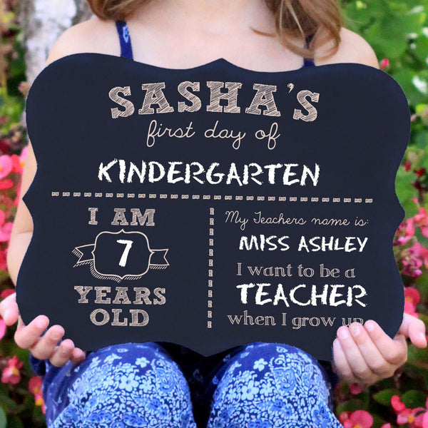 "First Day of School Chalkboard Sign ""Sasha"""