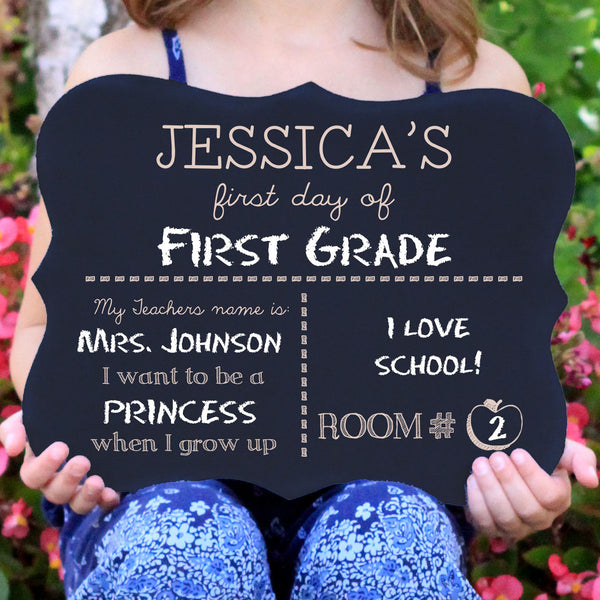 "First Day of School Chalkboard Sign ""Jessica"""