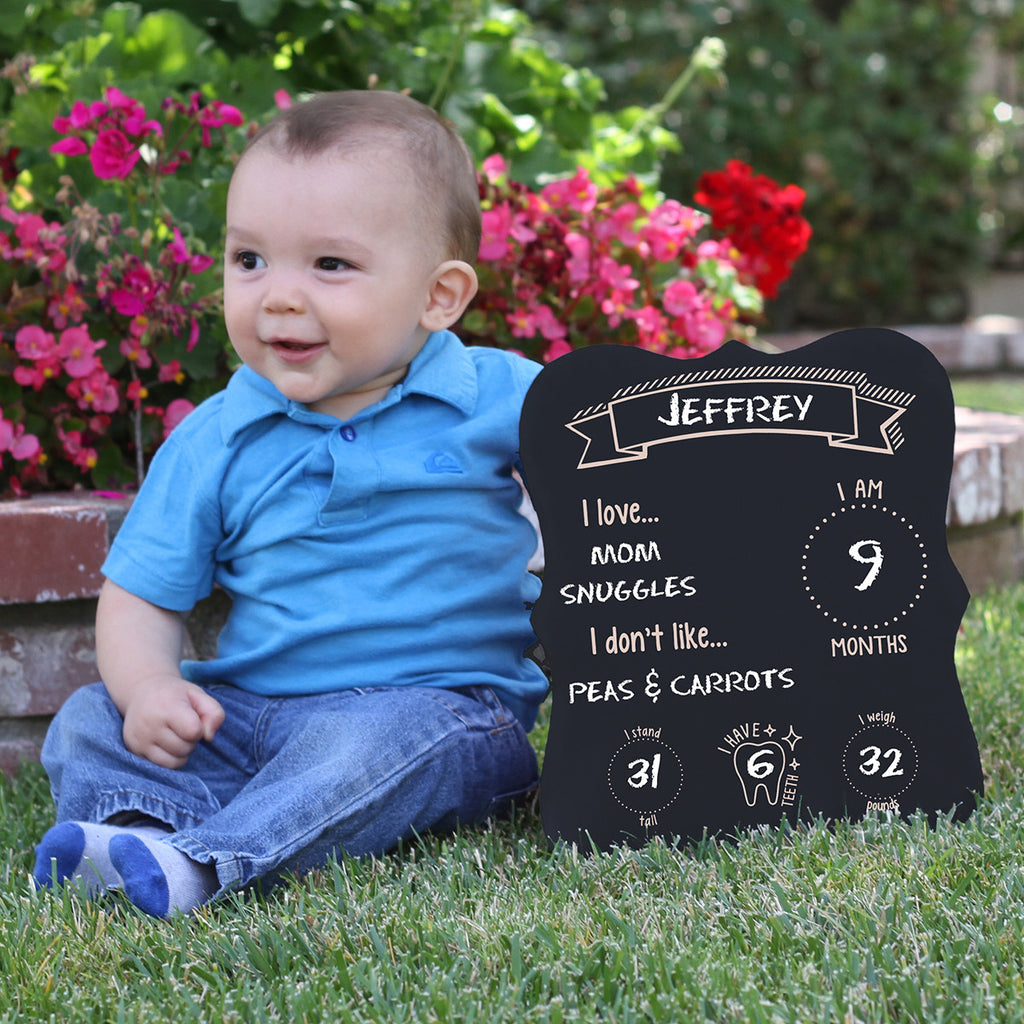 "Baby Month Chalkboard ""Baby's Favorites"""