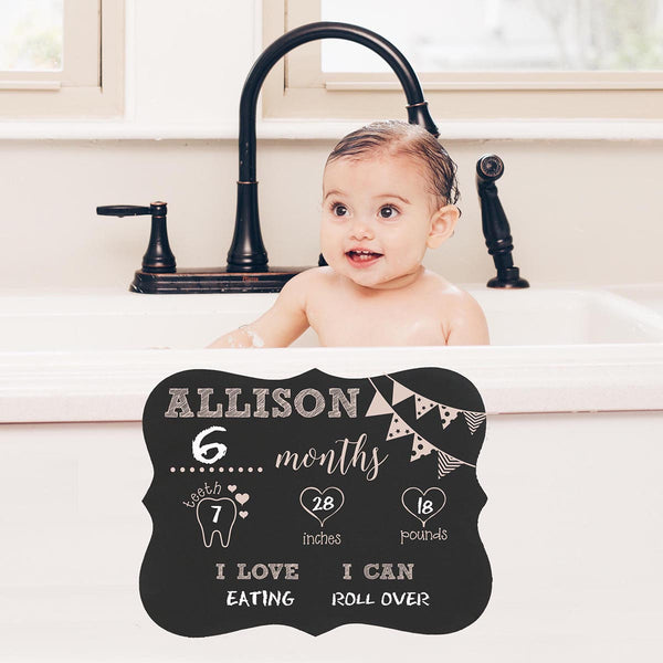 "Personalized Baby Month Chalkboard ""Baby's Teeth, Inches, Pounds"""