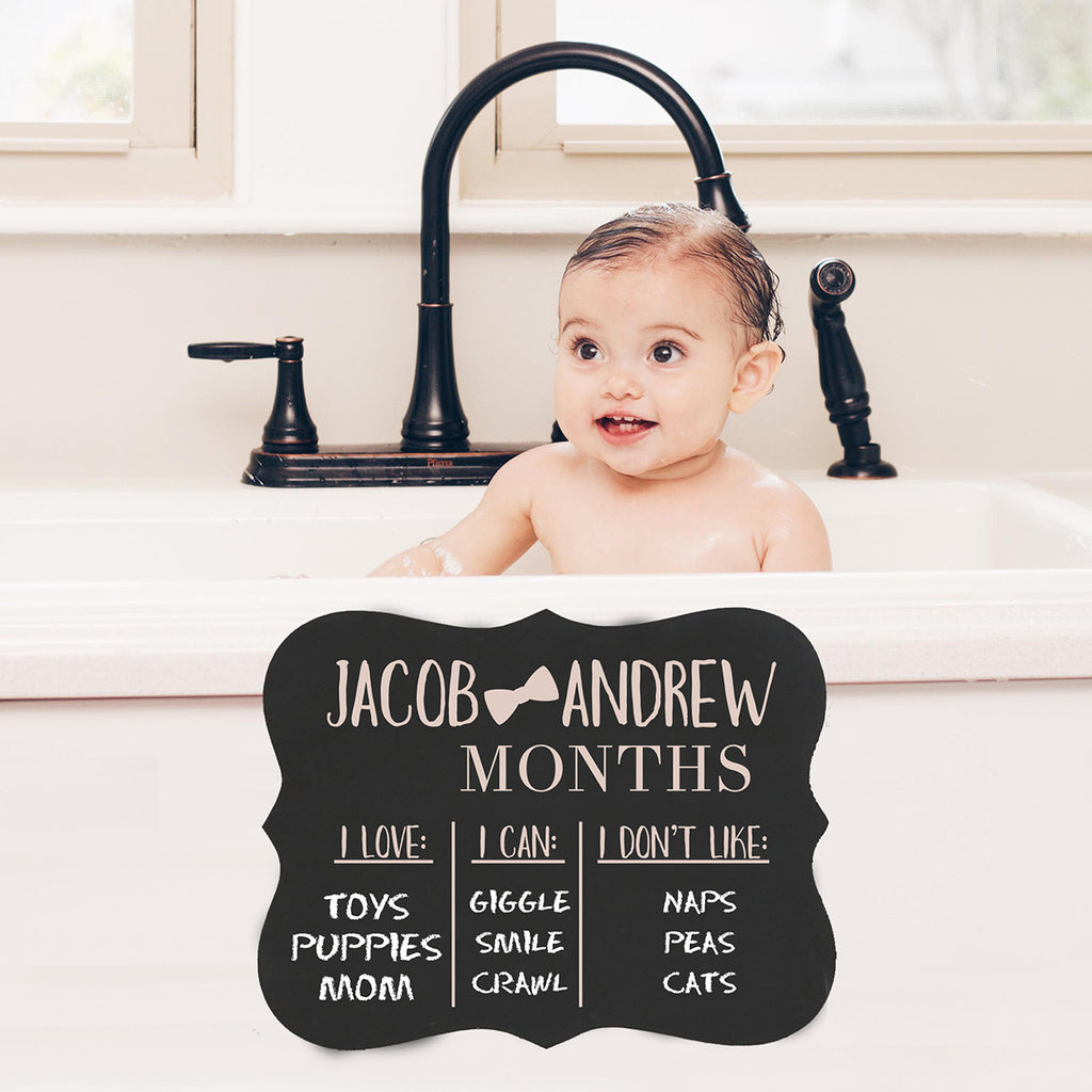 "Personalized Baby Month Chalkboard ""Baby's Love, Can, Don't Like"""