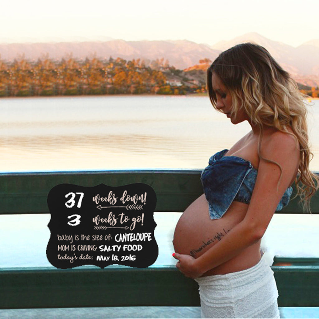 "Pregnancy Countdown Chalkboard ""Baby On The Way, Body, Crave, Date"""