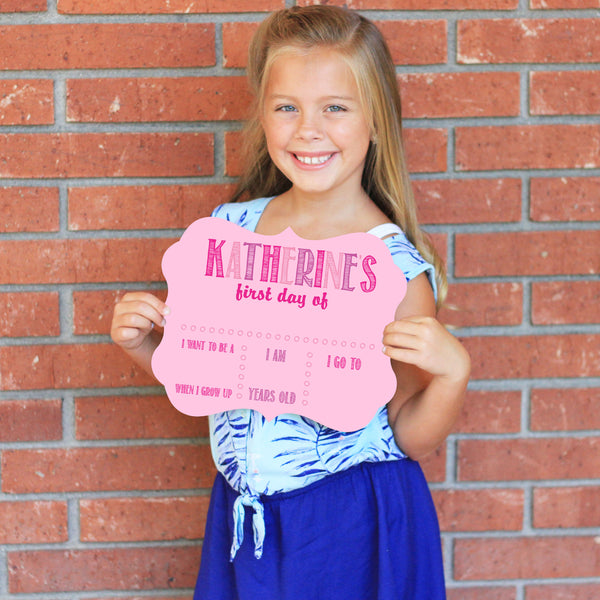 Pink Personalized First / Last Day Of School Sign Reusable
