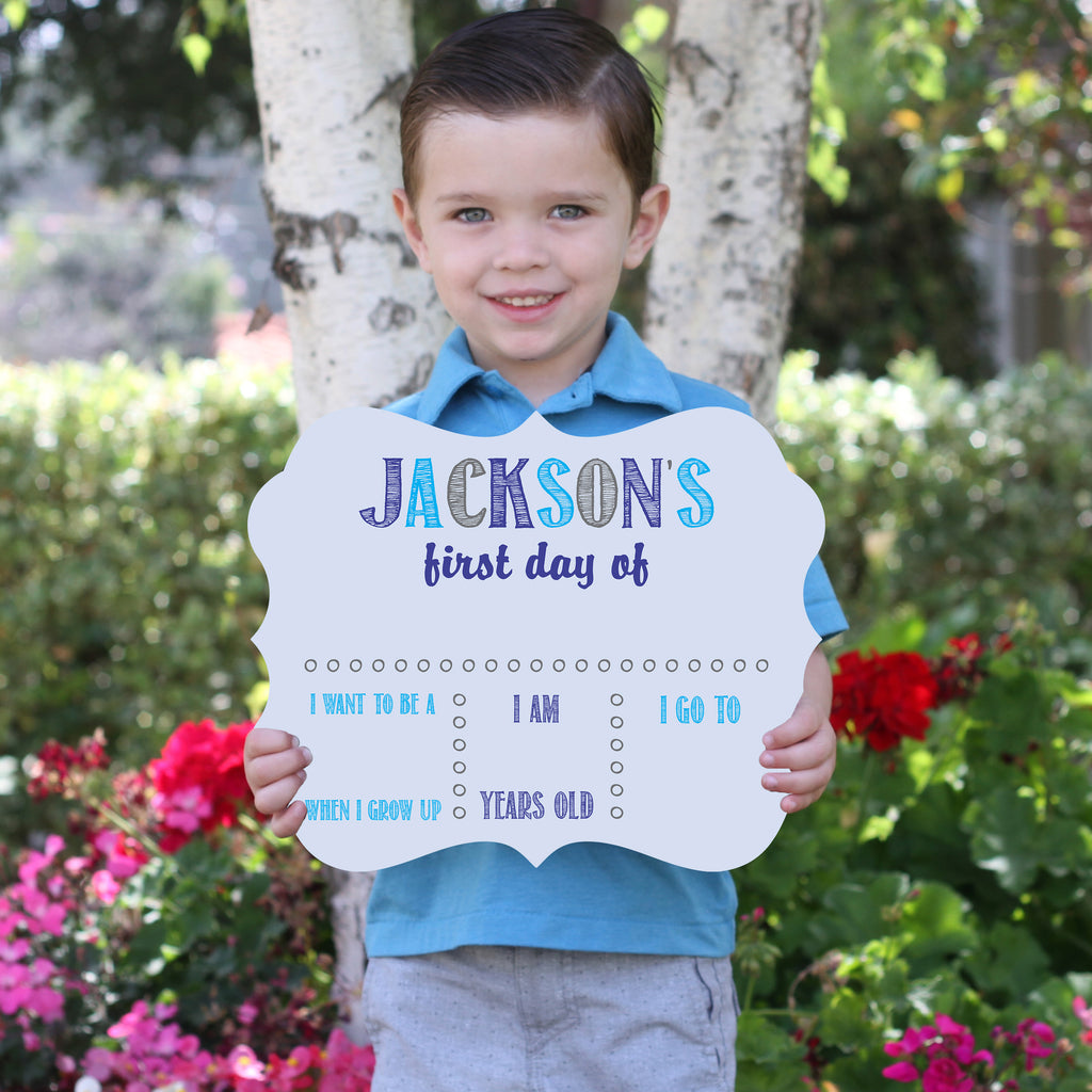 Blue Personalized First / Last Day Of School Whiteboard Sign Reusable