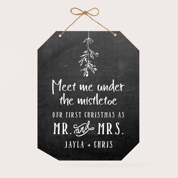 Personalized Christmas Wall Sign - Our First Christmas - Jayla & Chris