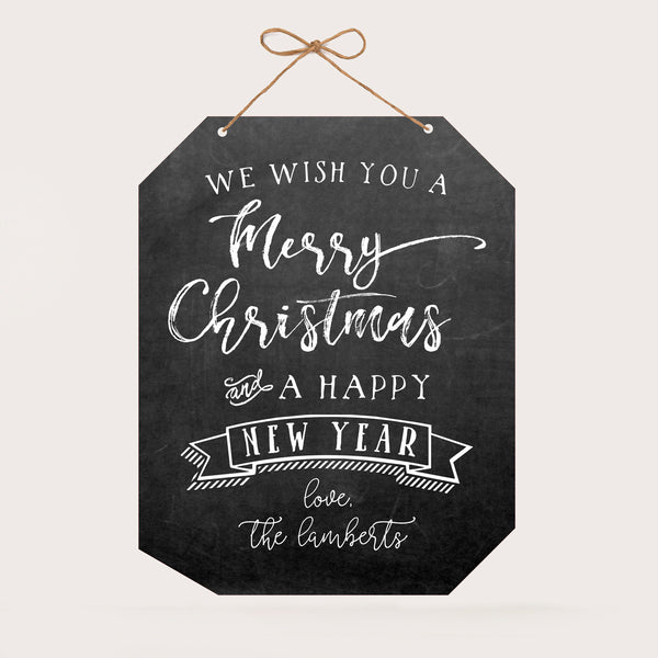 "Personalized Christmas Wall Sign - Merry Christmas ""The Lamberts"""