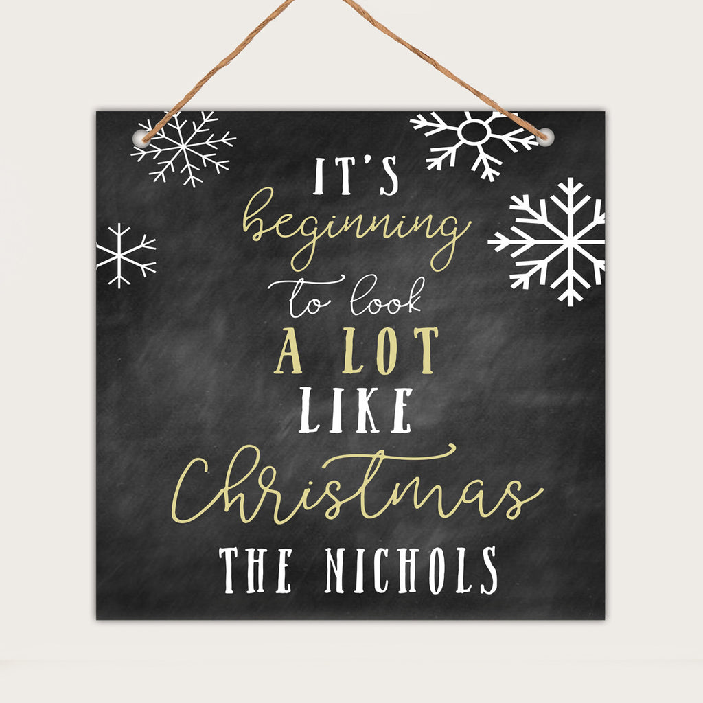 "Personalized Christmas Wall Sign - ""Beginning to Look a lot like Christmas - Nichols"""