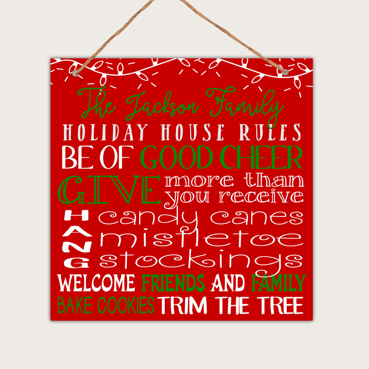Christmas Signs.Personalized Christmas Wall Sign Jacksons Family Holiday Rules
