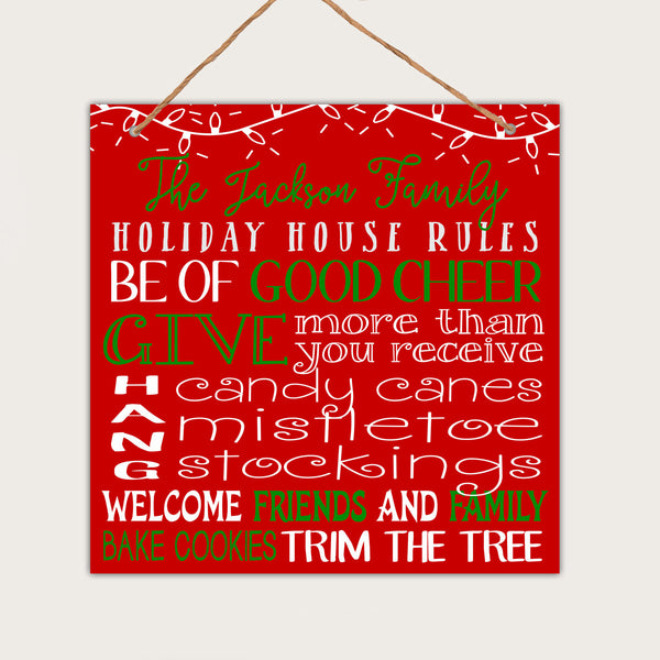 "Personalized Christmas Wall Sign - ""Jacksons Family Holiday Rules"""
