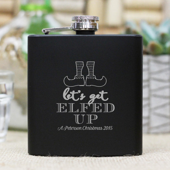 "Personalized Flask - ""Lets Get Elfed Up"""