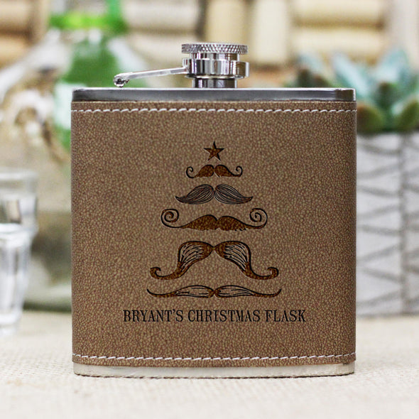 "Personalized Flask - ""Mustache Xmas Tree"""