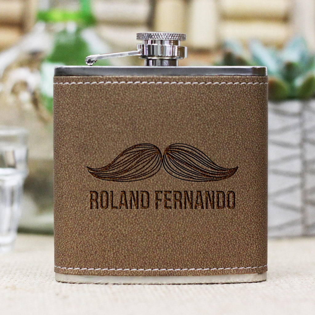 "Personalized Flask - ""Mustache Roland"""