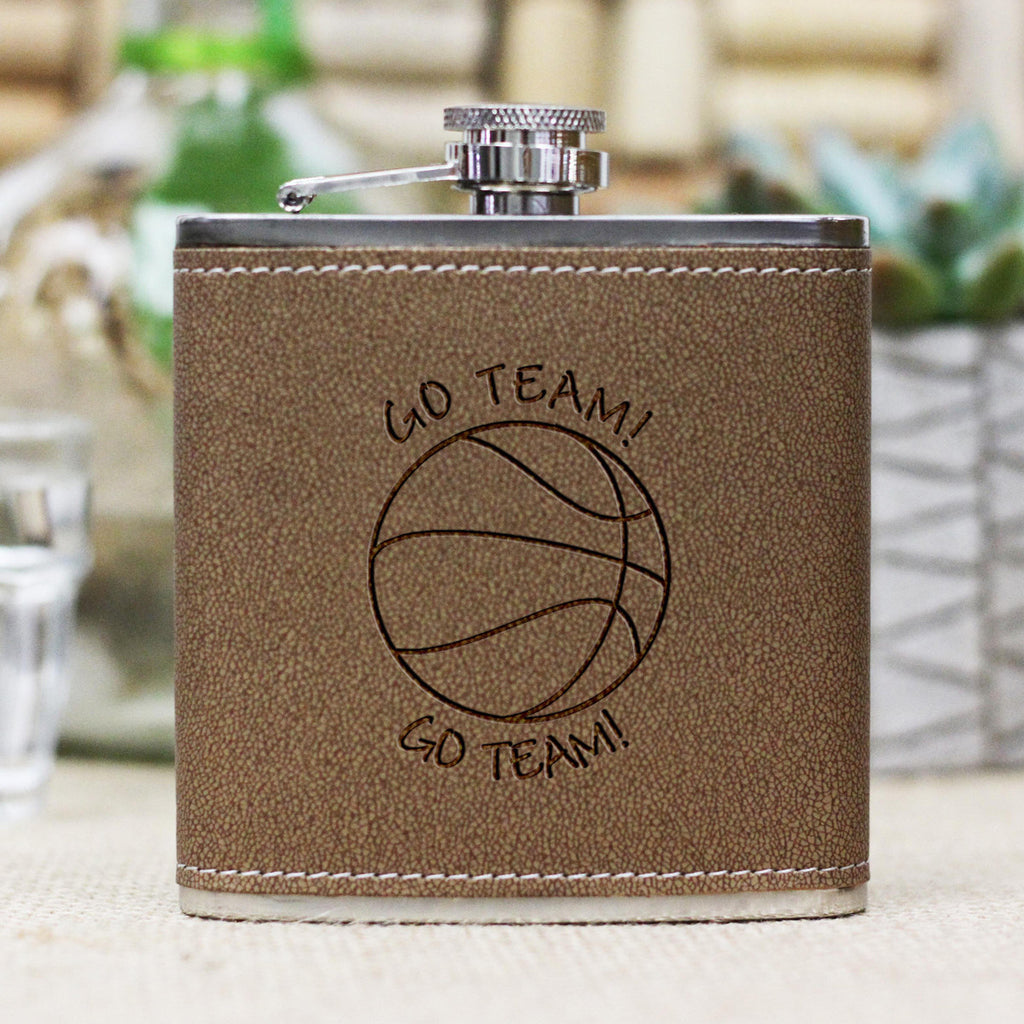 "Personalized Flask - ""Go Team"" Basketball"