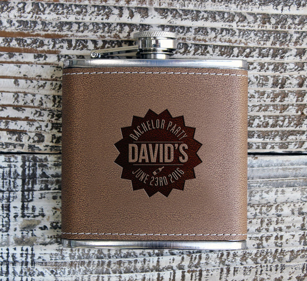 "Personalized Flask - ""David's Bachelor Party"""