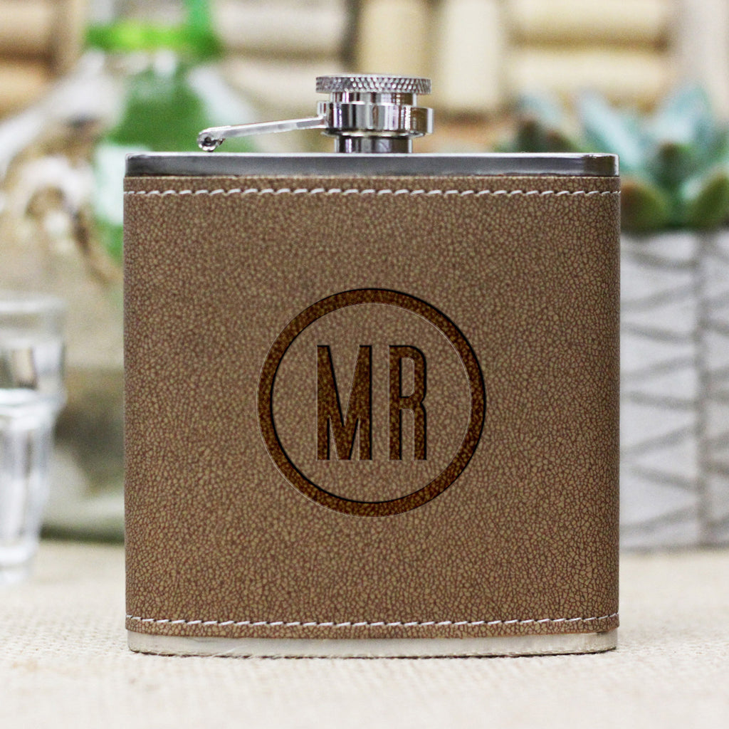 "Personalized Flask - ""MR Circle Monogram"""