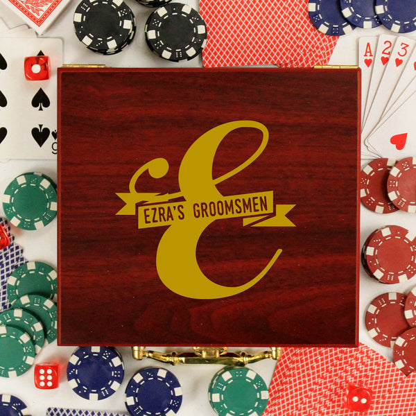 "Personalized Poker Set - ""Ezra's Groomsmen"""