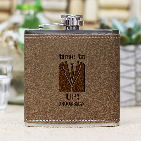 "Personalized Flask - ""Time to Suit Up Groomsman"""