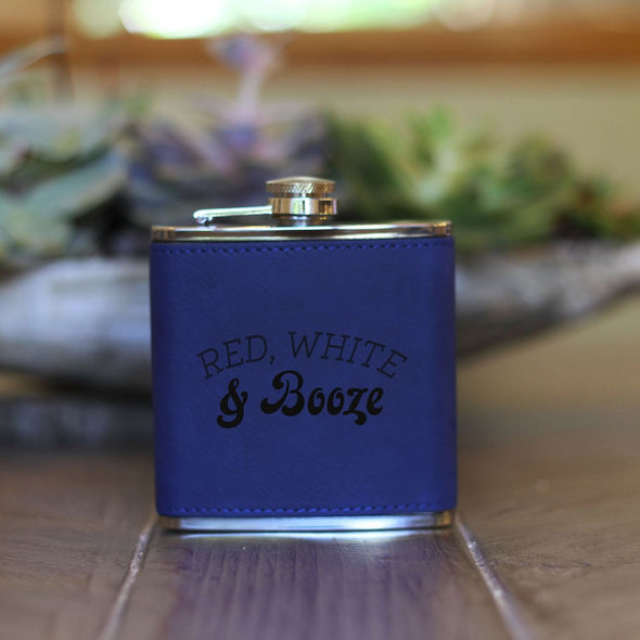 Red White & Booze 4th Of July Flask