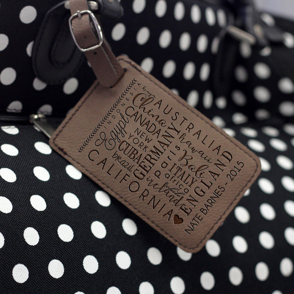"""Destination"" Personalized Leather Luggage Tag"