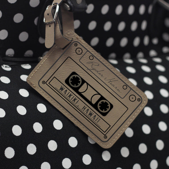 """Mix Tape"" Personalized Leather Luggage Tag"