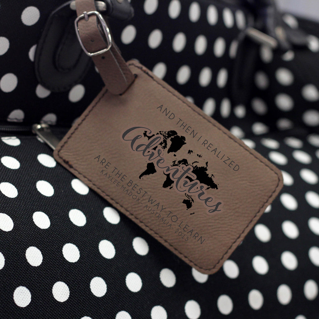 """Adventures"" Personalized Leather Luggage Tag"