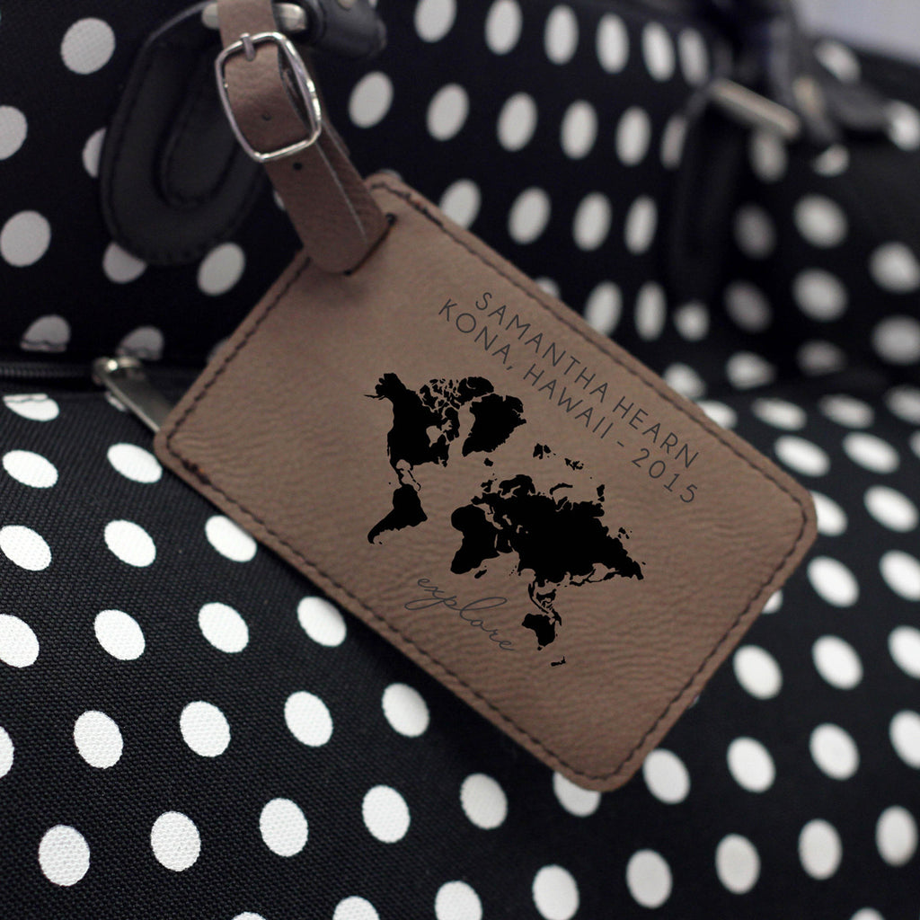 """World Map"" Personalized Leather Luggage Tag"