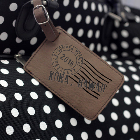 """Postage Stamp"" Personalized Leather Luggage Tag"