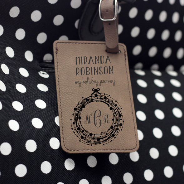 """Holiday Journey"" Monogram Personalized Leather Luggage Tag"