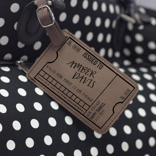 """Ticket"" Personalized Leather Luggage Tag"
