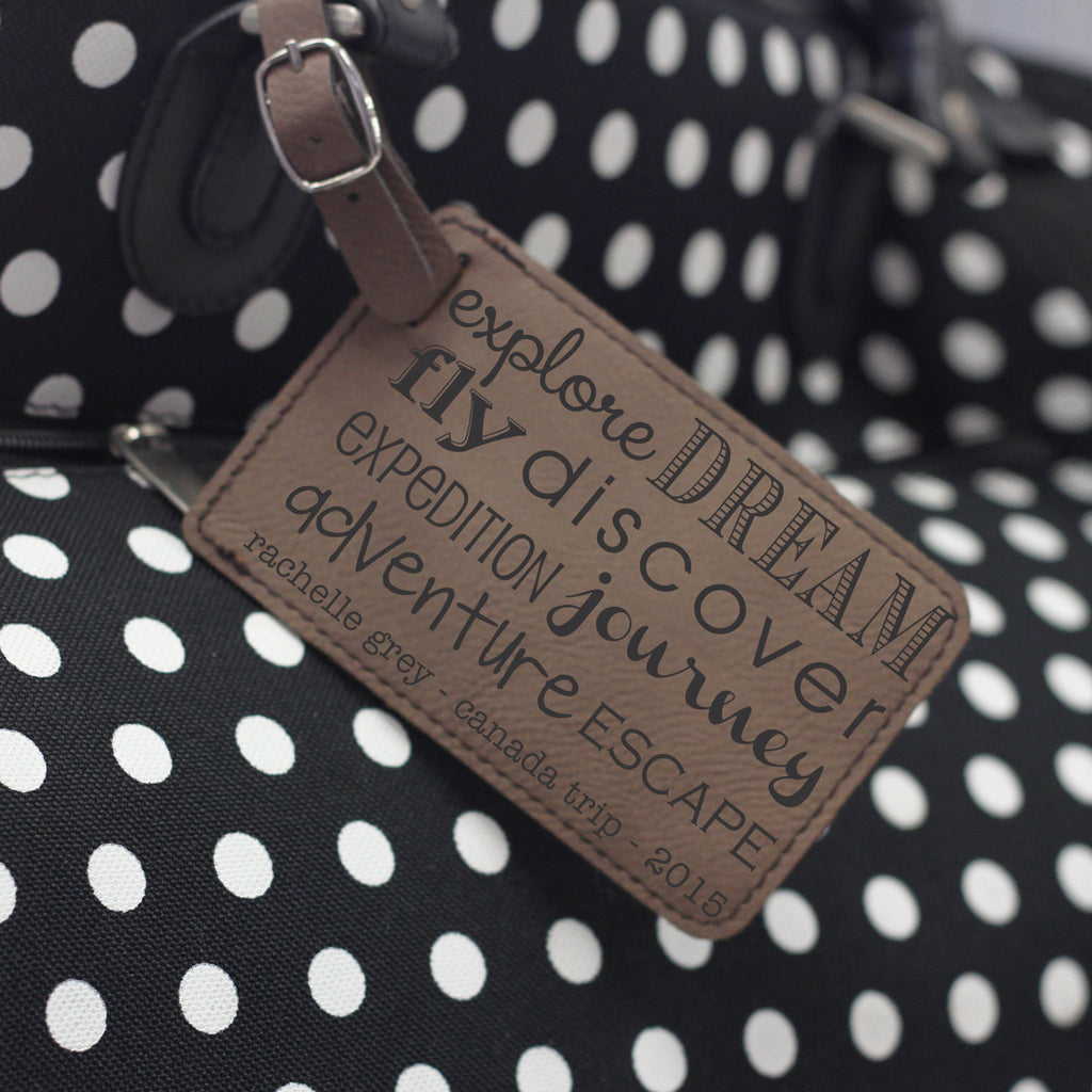 """Explore Dream Fly Discover"" Personalized Leather Luggage Tag"