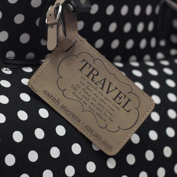 """Travel Quote"" Personalized Leather Luggage Tag"