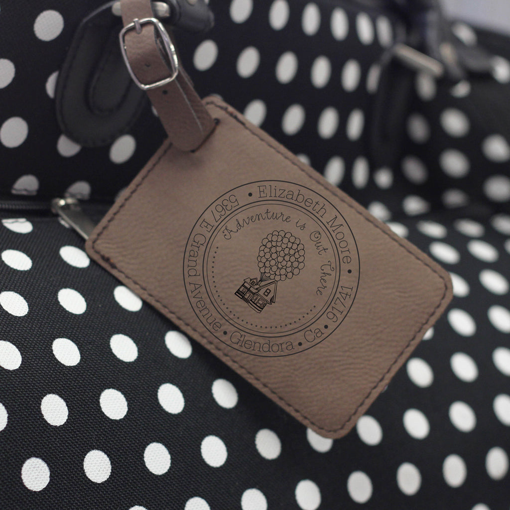 """Adventure is Out There"" Personalized Leather Luggage Tag"