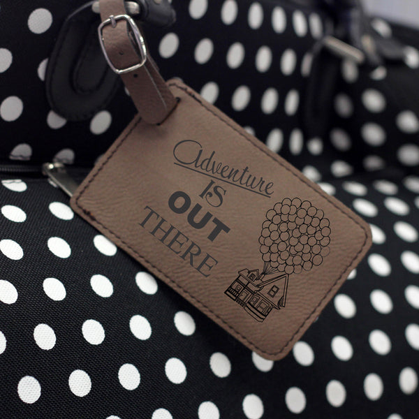 """Adventure is Out There"" Leather Luggage Tag"